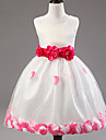 A-line Tea-length Flower Girl Dress - Cotton / Lace / Tulle / Polyester Sleeveless Jewel with
