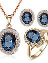 Set bijuterii Cristal Cristal Zirconiu Cubic imitație de diamant Aliaj Albastru Nuntă Petrecere Zilnic Casual 1setColiere Σκουλαρίκια
