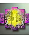 arte della parete albero casa Decorn dello dipinta a mano di Life Pictures moderna pittura a olio astratta 5 pezzo su tela senza telaio