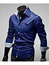 Lång ärm - Kostymskjortor ( Bomull )till MÄN V-ringad - Casual