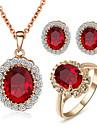 Set bijuterii Cristal imitație de diamant Cristal Zirconiu Cubic imitație de diamant Aliaj Pietrele Lunilor Rosu Seturi de bijuteriiNuntă