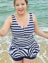 Summer Fashion Explosion Models Plus Size Women Striped One Piece Swimsuit