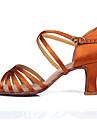Chaussures de danse (Marron/Autre) - Personnalisable - Talons personnalises - Satin - Danse latine/Salsa