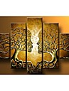 Hand-painted Wall Art Home Decorn Tree Of Life Pictures Modern Abstract 5 Piece Oil Painting On Canvas  Without Frame
