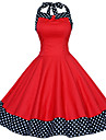 Women\'s Red/Black Vintage Polka Dots Midi Swing Dress, Full Circle Halter