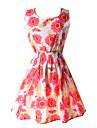 De las mujeres Linea A Vestido Casual Floral Sobre la rodilla Escote Redondo Poliester