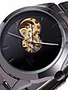 SHENHUA® Men's Auto-Mechanical Hollow Black Dial Steel Band Wrist Watch Cool Watch Unique Watch Fashion Watch