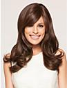 brun naturel perruque synthetique capless longue de haute qualite de cheveux boucles avec bang cote