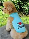 Pisici / Câini Tricou Portocaliu / Albastru / Roz / Gri Îmbrăcăminte Câini Vara Literă & Număr / Inimi Nuntă / Cosplay