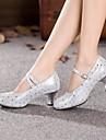 Chaussures de danse (Argent/Or) - Non personnalisable - Talon Large - Cuir - Moderne