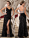 Formal Evening / Military Ball Dress - Black Plus Sizes / Petite Sheath/Column V-neck / Straps Floor-length Sequined