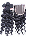 4st / lot 10 \'\' - 30 \'\' brasilianskt jungfru hår spets stängning med wefts obearbetade lös våg hår buntar