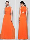 Floor-length Chiffon Bridesmaid Dress A-line Jewel Plus Size / Petite with Criss Cross