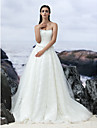 Lanting Bride A-line Wedding Dress-Court Train Strapless Lace / Tulle