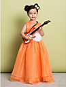Lanting Bride A-line Floor-length Flower Girl Dress - Organza Sleeveless Scoop with Flower(s)