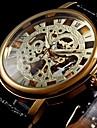 WINNER Bărbați Ceas de Mână ceas mecanic Mecanism manual Gravură scobită PU Bandă Luxos Negru Auriu
