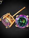 U7® Women\'s Mystic Rainbow Earrings for Women CZ Jewelry Platinum/Gold Plated Exquisite Cubic Zirconia Stud Earrings