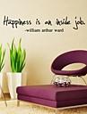 """impression devise «le bonheur est un travail interieur"""" sticker mural"""