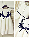 A-line Knee-length Flower Girl Dress - Lace / Satin Short Sleeve Scoop with