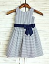 A-line Knee-length Flower Girl Dress - Cotton Sleeveless Scoop with