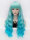 dames de mode cheveux boucles a long degrade bleu plein boum perruques femmes