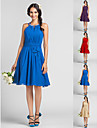 Knee-length Chiffon Bridesmaid Dress - Royal Blue / Ruby / Champagne / Grape Plus Sizes / Petite Sheath/Column Halter / High Neck