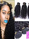 """3st / lot 8 """"-26"""" obearbetat peruanska virgin hår naturligt svart färg kinky lockigt människohår väva."""