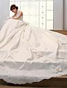 AMGAM® Robe de Soiree Robe de Mariage  Traine Chapelle Col Haut Satin avec