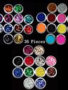 36PCS  Mixed Colors Small Delicate Nail Art Glitter Powder Nail Art Foil Strip Powder Arylic Powder for Nail Decorations