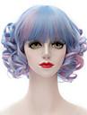 melange synthetique populaire bleu et rose courte Bang plat Harajuku lolita purecas dame / perruque partie de filles de la mode boucles