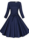 Maggie Tang Women\'s 3/4 Sleeve 50s VTG Retro Rockabilly Hepburn Pinup Full Circle Swing Cos Party Dress 551