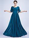Formal Evening Dress - Ocean Blue Sheath/Column V-neck Floor-length Chiffon