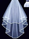 Bridal Wedding Veil Two-tier Fingertip Veils Ribbon Edge With Comb