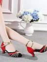 Chaussures de danse(Rouge) -Non Personnalisables-Talon Bottier-Flocage-Latine
