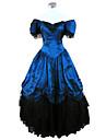 Une Piece/Robes Gothique Steampunk® / Victorien Cosplay Vetements de Lolita Bleu Couleur Pleine Manches courtes Long Robe Pour FemmeSatin