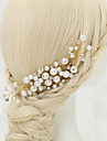 Women\'s / Flower Girl\'s Rhinestone / Alloy / Imitation Pearl Headpiece-Wedding / Special Occasion Hair Combs 1 Piece White Round