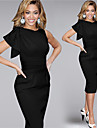 Women\'s Sexy / Party / Cocktail / Casual / Day Solid Bodycon Dress , Round Neck Knee-length Cotton Blends