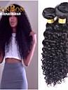 1 st / lot naturligt svart brasilianskt jungfruligt hår kinky lockigt