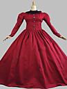 Une Piece/Robes Gothique Steampunk® Cosplay Vetements de Lolita Rouge Couleur Pleine Manches longues Long Robe Pour FemmeCoton / Dentelle