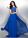 TS Couture® Formal Evening Dress Sheath / Column Jewel Sweep / Brush Train Chiffon with Appliques