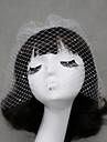 Voiles de Mariee Une couche Voiles Blush / Voiles pour cheveux courts Bord coupe Tulle Blanc / Ivoire