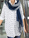 Damă Guler Cămașă Bluză Casul/Zilnic Plus Size Simplu(ă),Imprimeu Manșon Lung Toamnă-Mediu Bumbac