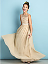 Floor-length Chiffon / Lace Junior Bridesmaid Dress - Mini Me A-line Scoop with Lace