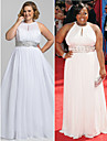 TS Couture Formal Evening / Prom / Military Ball Dress - White Plus Sizes / Petite Sheath/Column High Neck Floor-length Chiffon
