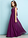 Lanting Bride Floor-length Chiffon Junior Bridesmaid Dress - Mini Me A-line V-neck with Criss Cross