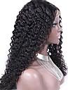 """obearbetade 10 """"-24"""" jungfruligt brasilianskt hår naturliga färg kinky lockigt 130% densitet spets front peruk kinky curl"""