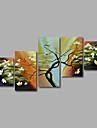 handmålade oljemålning på duk väggkonst landskap träd flowes abstrakt fem panel redo att hänga