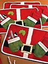 dubbel röd jul produkter bord matta Santa äta mat