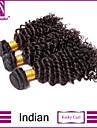 3st indiska hårknippena väver naturligt svart kinky curl hårträns 100% obearbetat brasiliansk weft