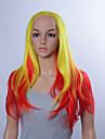 perruques synthetiques de mode cosplay dentelle perruques avant 32inch rouge cheveux raides jaune / resistant a la chaleur perruques